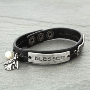 "Jewelry - ""Blessed"" Angel Wing Inspiration Leather Bracelet"